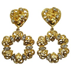 Vintage Signed Christian LaCroix Heart & Hoop Dangling Earrings
