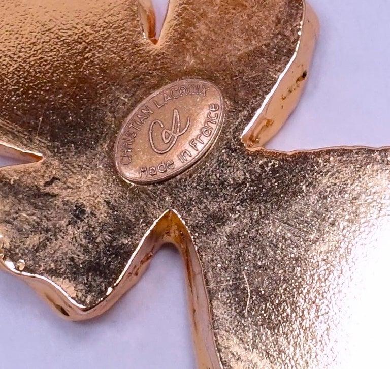 Women's or Men's Vintage Signed Christian LaCroix Huge Four-Leaf Clover Brooch For Sale
