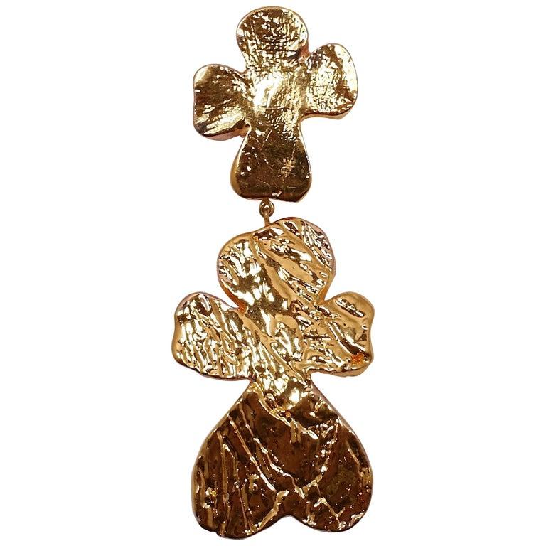 Vintage Signed Christian LaCroix Huge Four-Leaf Clover Brooch For Sale