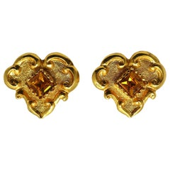 Vintage Signed Christian LaCroix Topaz Crystal Earrings
