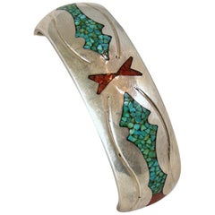 Vintage Signed CLJ Navajo Turquoise, Coral Inlay, Sterling Silver Cuff Bracelet