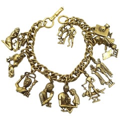 Vintage Signed Coro 10 Commandments Charm Bracelet