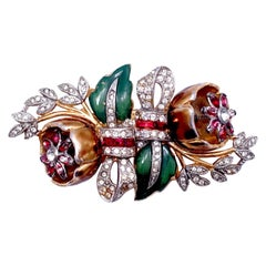 Vintage Signed Coro Duette Tremblant Brooch/Fur Clips