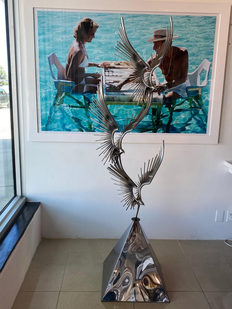 Late 20th Century Vintage Signed Curtis Jere C. Jere Chrome Steel Birds in Flight Sculpture, 1976 For Sale