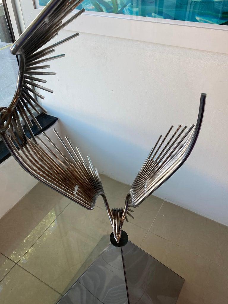 Vintage Signed Curtis Jere C. Jere Chrome Steel Birds in Flight Sculpture, 1976 For Sale 1