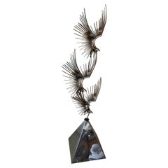 Vintage Signed Curtis Jere C. Jere Chrome Steel Birds in Flight Sculpture, 1976