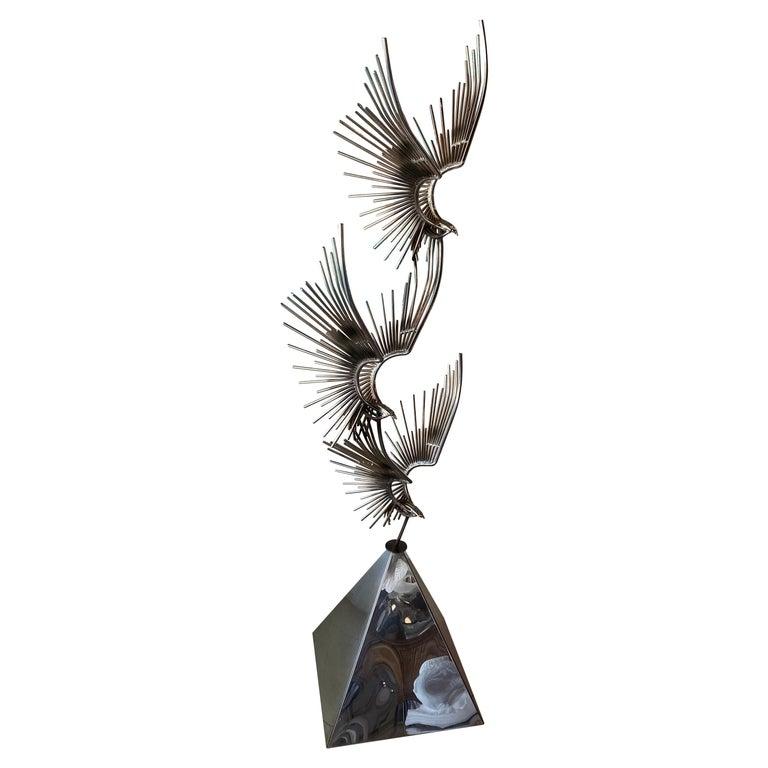 Vintage Signed Curtis Jere C. Jere Chrome Steel Birds in Flight Sculpture, 1976 For Sale