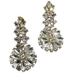 Vintage Signed DeMario Crystal Drop Earrings