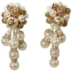 Vintage Signed DeMario Faux Pearl Dangling Earrings