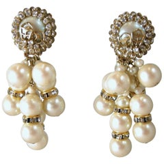 Vintage Signed DeMario Faux Pearls & Crystal Drop Earrings