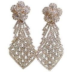 Vintage Signed DeMario Long Runway Clear Crystal Dangling Earrings