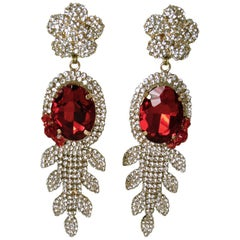 Vintage Signed DeMario Red & Clear Crystal Dangling Earrings