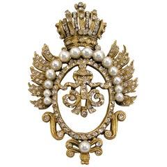 Vintage Signed DeNicola Crystal & Faux Pearl Crown Brooch
