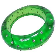 Vintage Signed Dereon Green Lucite & Clear Crystal Bracelet