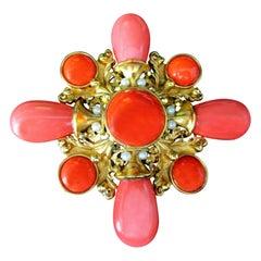 Vintage Signed Designer Jose Maria Barrera Faux Coral Cross Brooch Pin