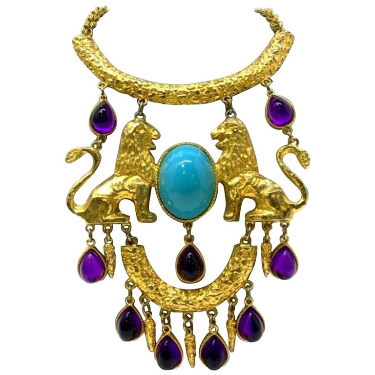 Vintage Signed Donald Stannard Twin Lions Turquoise Amethyst Statement Necklace For Sale