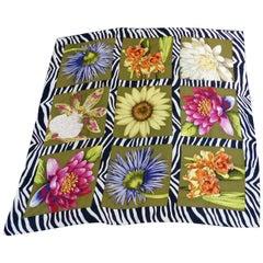Vintage Signed Echo Floral Design Silk Scarf