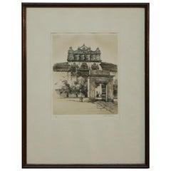 Vintage Signed Etching, the Hospital, Santa Cruz after Samuel Chamberlain