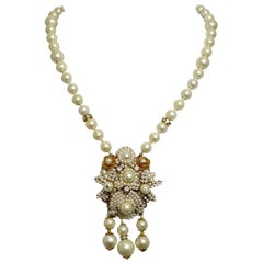 Vintage Signed Faux Pearl & Crystal Drop Necklace