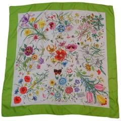 Vintage Signed Gucci Silk Floral Scarf