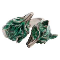 Vintage Signed GUCCI Silver and Green Enamel Double Fox Ring