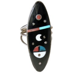 Vintage Signed H. Smith Onyx, Turquoise, Coral, MOP, Sterling Silver Ring, Sz 6.