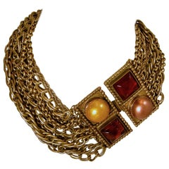 Vintage Signed Isabel Canovas French Multi-Chain and Gripoix Glass Necklace