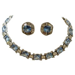 Vintage Signed Jomaz Blue & Clear Crystals Necklace & Earrings