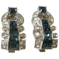 Vintage Signed Mazer Blue & Clear Crystal Earrings