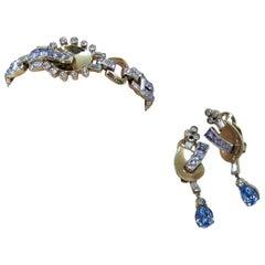 Vintage Signed Mazer Bros. Crystal Bracelet & Earring Set