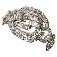 Vintage Signed Mazer Magnificent Center Clear Crystal Bracelet