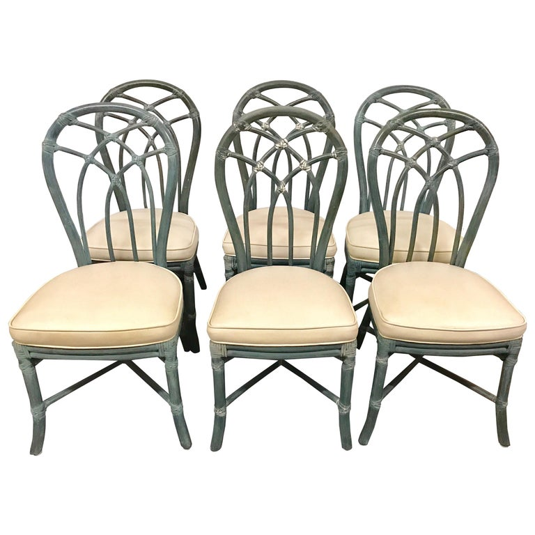 Vintage Signed Mcguire Furniture Bamboo Dining Chairs Set Of Six For