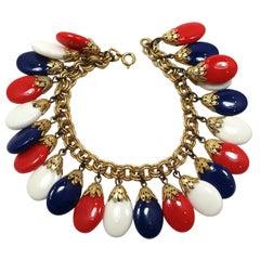 Vintage Signed Napier Red, White & Blue Drops Bracelet