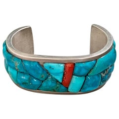 Vintage Signed Native American Turquoise and Coral Sterling Silver Cuff Bracelet