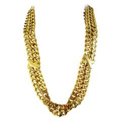 Vintage Signed PALOMA PICASSO Golden Link Chains Designer Necklace Belt