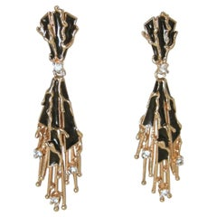 Vintage Signed Panetta Black & Gold Drop Earrings