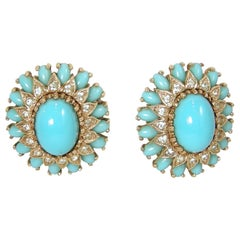 Vintage Signed Panetta Faux Turquoise & Clear Crystals Earrings
