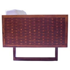 Vintage Signed Poul Cadovius 'Basketweave' Settee in Rosewood and Cotton, 1960s