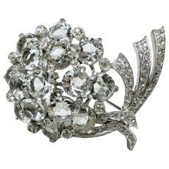 Vintage Signed Reja Crystal Floral Brooch