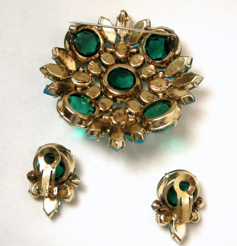 Vintage Signed Schreiner Brooch & Earrings In Good Condition For Sale In New York, NY