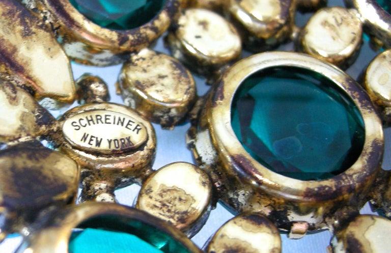 Women's or Men's Vintage Signed Schreiner Brooch & Earrings For Sale