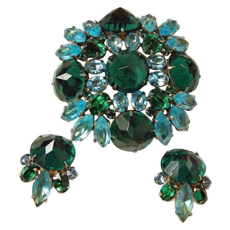 Vintage Signed Schreiner Brooch & Earrings For Sale