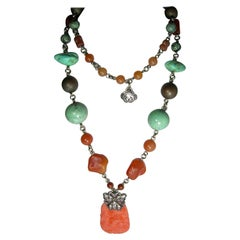 Vintage Signed Stephen Dweck Sterling Agate, Turquoise & Coral Long Necklace
