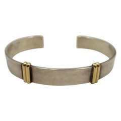 Vintage Signed Tiffany 14kt Gold & Sterling Silver Cuff