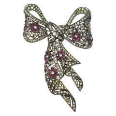 Vintage Signed Trifari Book Piece Crystal Bow Brooch