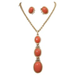 Vintage Signed Trifari Faux Coral Drop Necklace & Earrings Set