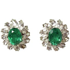 Vintage Signed Trifari Green & Clear Crystals Earrings
