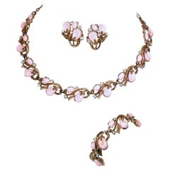 Vintage Signed Trifari Pink Parure … Necklace, Bracelet & Earrings