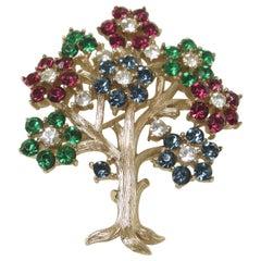 """Vintage Signed Trifari 'Tree of Life"""" Brooch"""