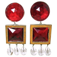 Vintage Signed Victor Carranza Red Dangling Earrings